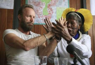 British singer Sting and Brazilian chief Raoni Txukarramae