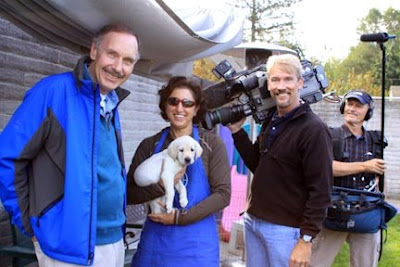 The CBS film crew with Aerial Gilbert