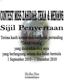 Sijil penyertaan [Contest Miss Zahidah: Teka & Menang]