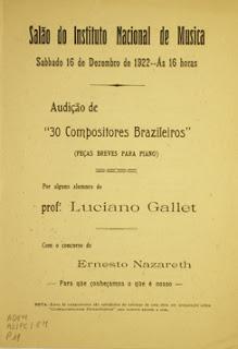 Primeira folha do programa Audição de 30 Compositores  Brasileiros (Peças Breves para Piano).