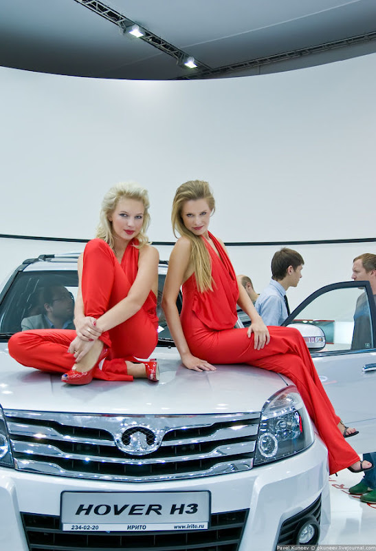 Girls of Moscow International Automobile Show cleavage