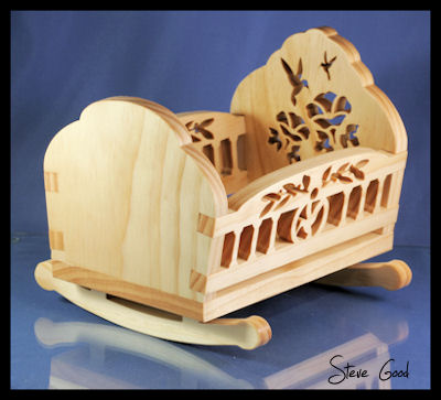 Wooden Toy Doll Furniture - Cradle, High Chair, Stroller