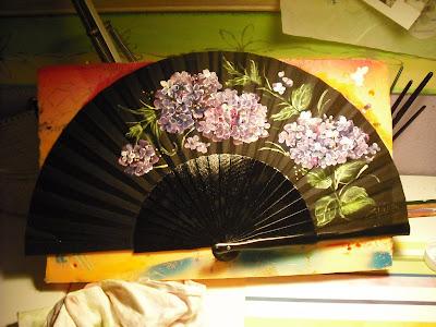 Abanic arte como pintar un abanico con el dedomorcilla - Como pintar abanicos ...