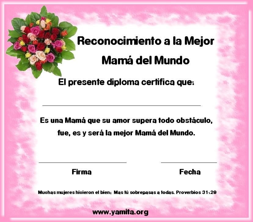 diploma de reconocimiento a la mejor mama del mundo