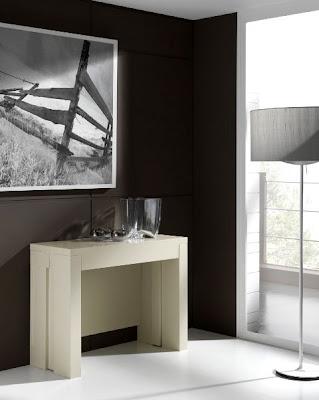 mesa consola extensible en blanca