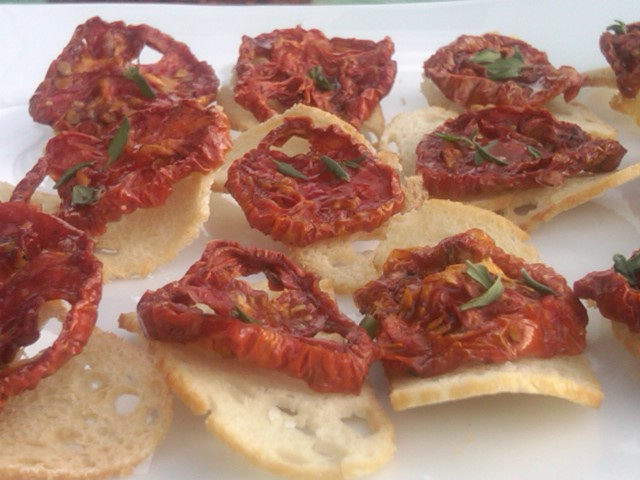 heirloom roma tomato oven dried on a wafer thin crostini extra virgin ...