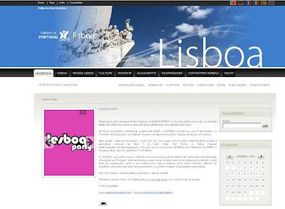 Divulgação no site do Turismo de Lisboa