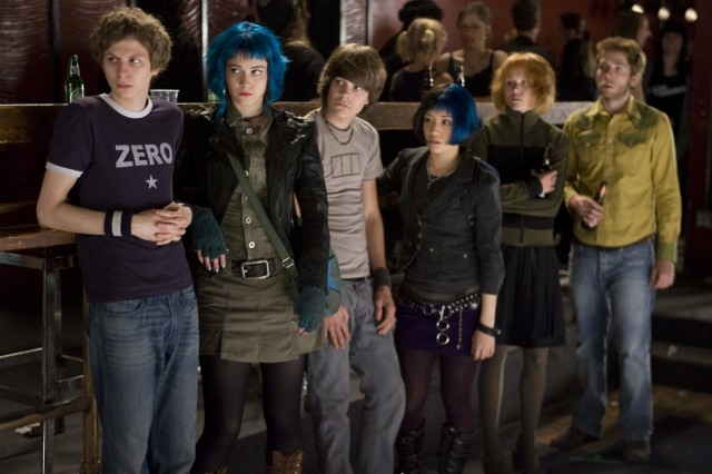An early pic of Michael Cera and Mary Elizabeth Winstead in Scott Pilgrim vs. the World. Photo by Kerry Hayes.