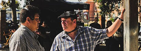 A New York Times photo of David Mills on location with David Simon for the New Orleans filming of Treme.