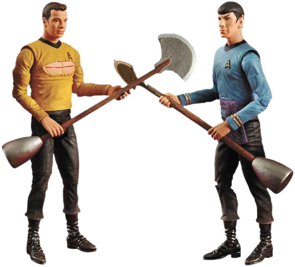 The 'Amok Time' action figure set: for lonely Trekkie housewives who want to reenact the 'Amok Time' fight with their Kirk and Spock dolls but always thought, 'Oh, why can't it be gayer?'
