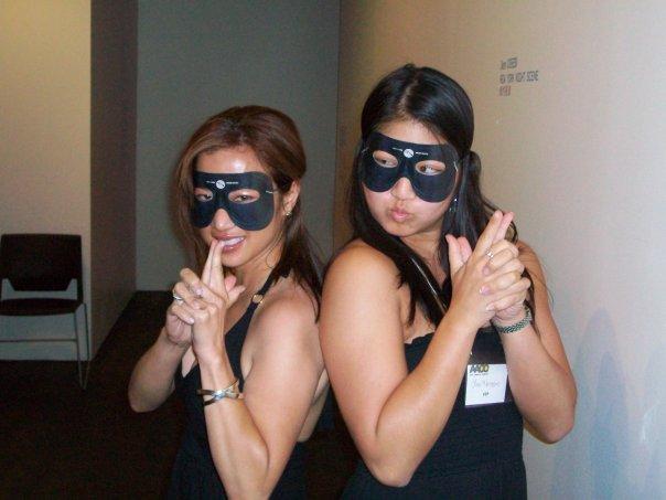 Masked crimefighters Kate Agathon and Lisa Hanasono. Photo courtesy of Kate.