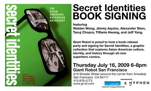 Secret Identities' July 16, 2009 Giant Robot SF event postcard