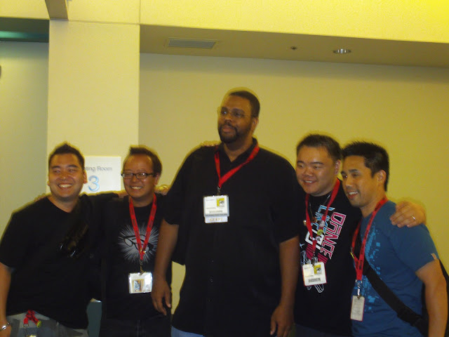 Dwayne McDuffie and the Secret Identities editors. Photo by Jimmy J. Aquino.