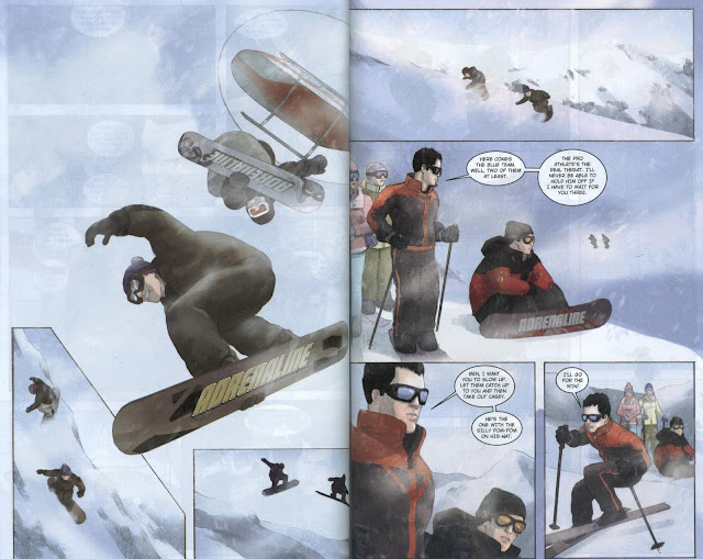 The 'Snow Job' cue from A View to a Kill is the perfect score music for Adrenaline's snowboarding sequence.