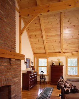 timber frame farmhouse bedroom