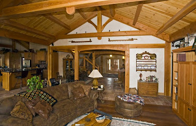 open concept timber frame living