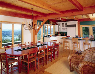 open concept timber frame dining