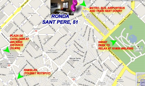 Location of the Rooms in Barcelona