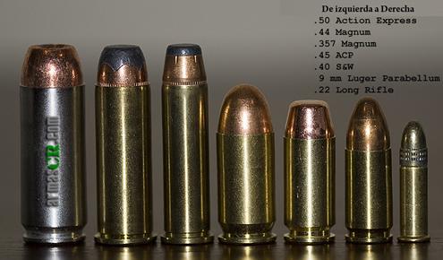Descripción de los calibres más comunes para armas de fueg