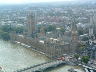 Great photo of London England looking down from the top of the London Eye Ferris Wheel