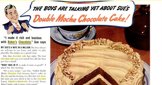 Double Mocha Chocolate Cake: Vintage Ad & Recipe | Chocholate Cake ...