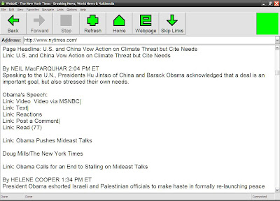 WebbIE browser when in text mode screenshot. We have New York Times' first page
