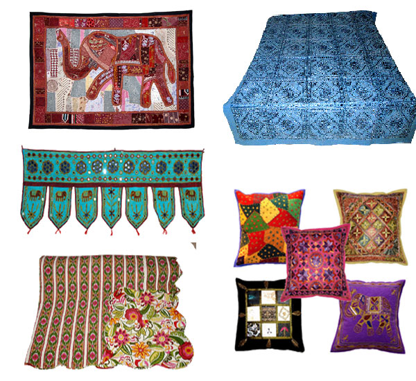 Rajasthani handmade clothing home furnishing for Home decorations india