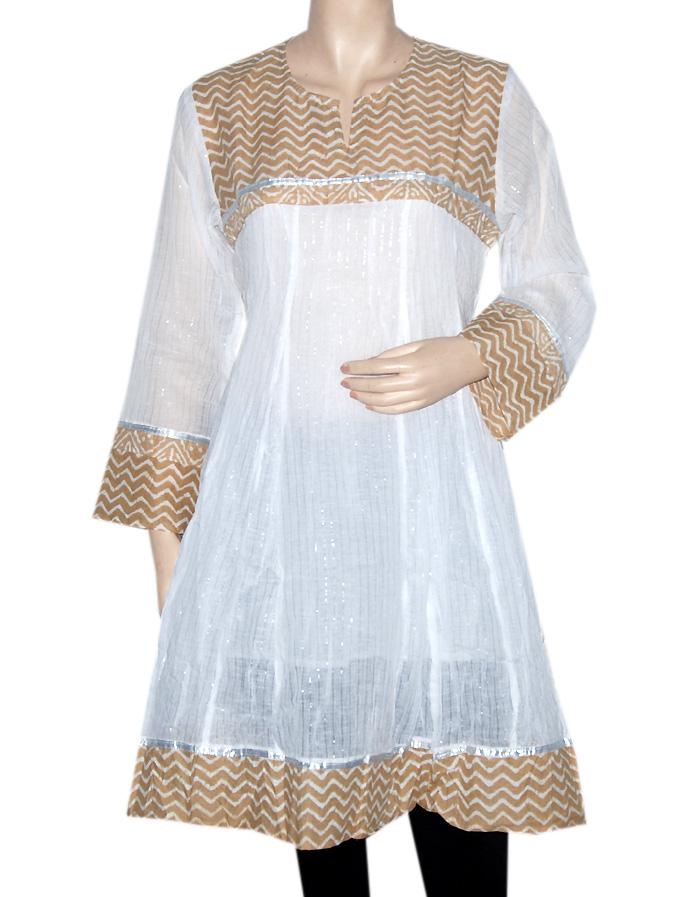 Indian kurtis tops for women ethnic handmade embroidered cotton kurti