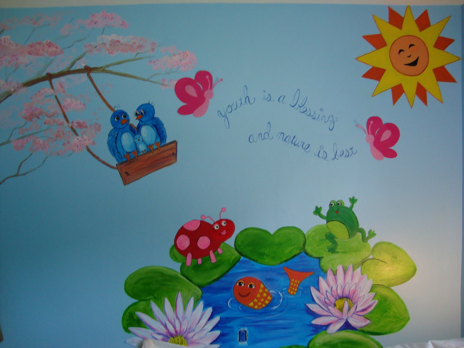 Paint everywhere murals makaila 39 s nature mural for Airbrush mural painting