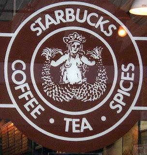 Original Starbucks logo at Pike Place Market shop
