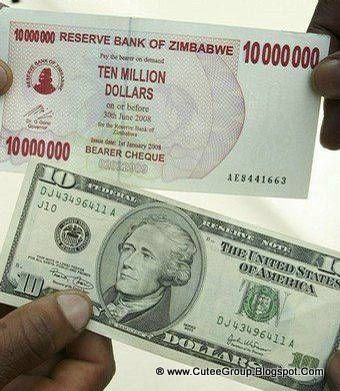 This US $10 dollar note is 10 times worth more than the 10 million dollars Zimbabwe note.