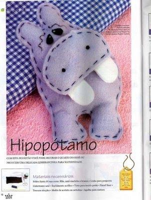 Molde para hacer este lindo hipopotamo