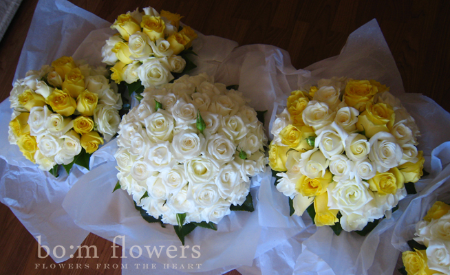 white and yellow rose bouquets. white and yellow roses