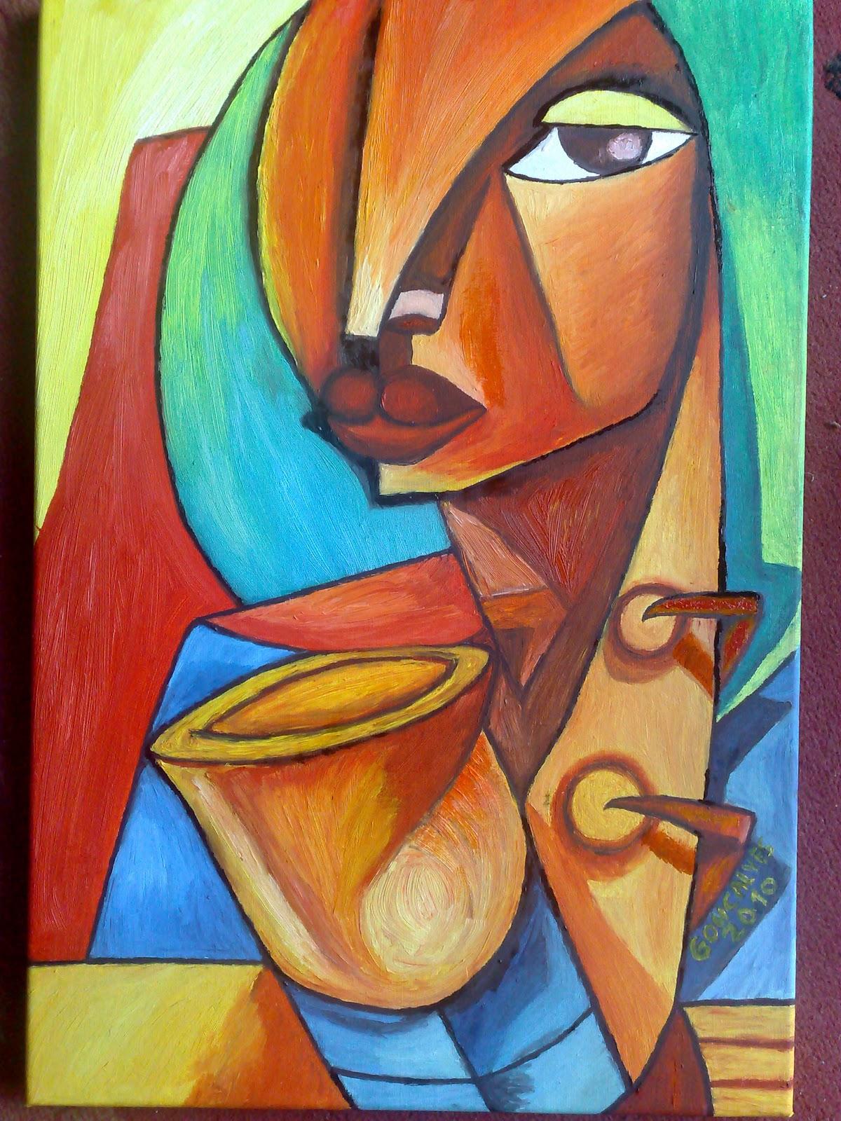 Pintor pintura a oleo cubismo africa for Tecnicas vanguardistas