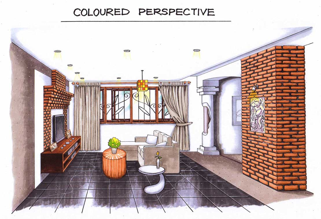 Perspective drawing room interior the for Interior design drawing