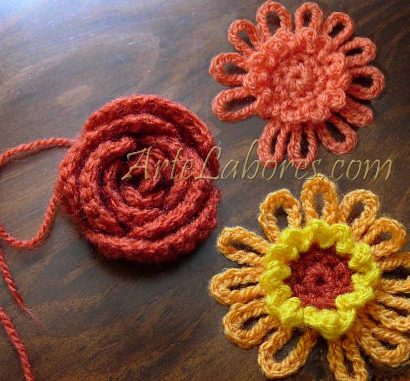 Flores a ganchillo artelabores - Hacer flores de ganchillo ...