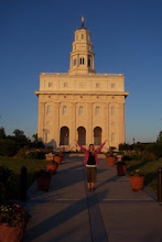 Maggie in front of Nauvoo Temple