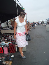 Becky checking out shoes Sandiego Swap Meet
