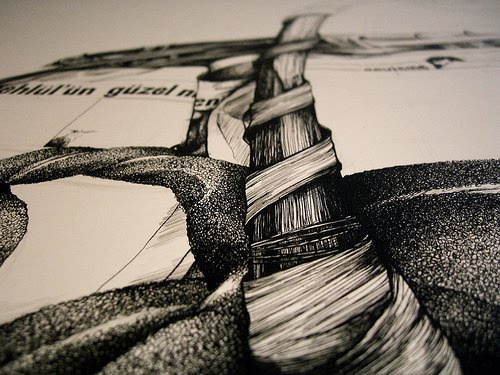 Detail of an ink drawing of a simit salesman, or simitci, in progress, by Samantha Zaza.