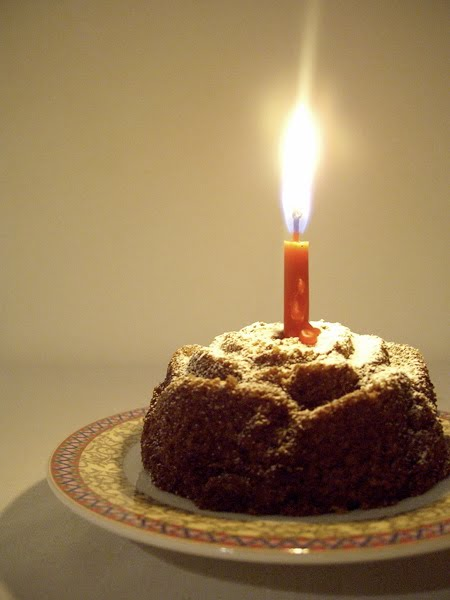 Turkish coffee cake with candle, celebrating Harika's one year anniversary and my move to Istanbul.