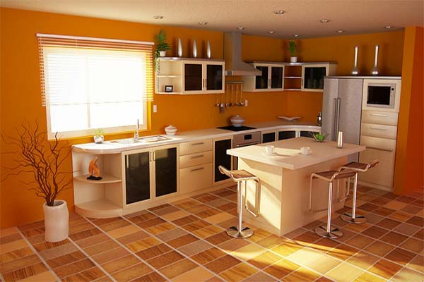 Uzumaki interior design kitchen with orange design schemes for Kitchen interior colour