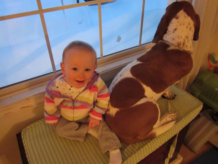 Snowbound with her puppy