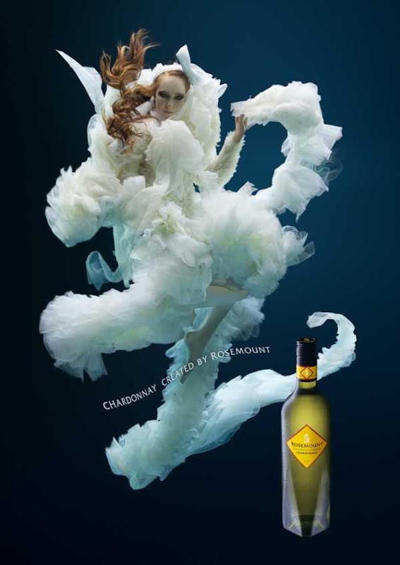 Advertising of wines Rosemount under water