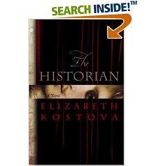 hardback cover of The Historian by Elizabeth Kostova: a dark cover with scrolled lettering
