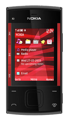 nokia x3 Red on Black Built in features