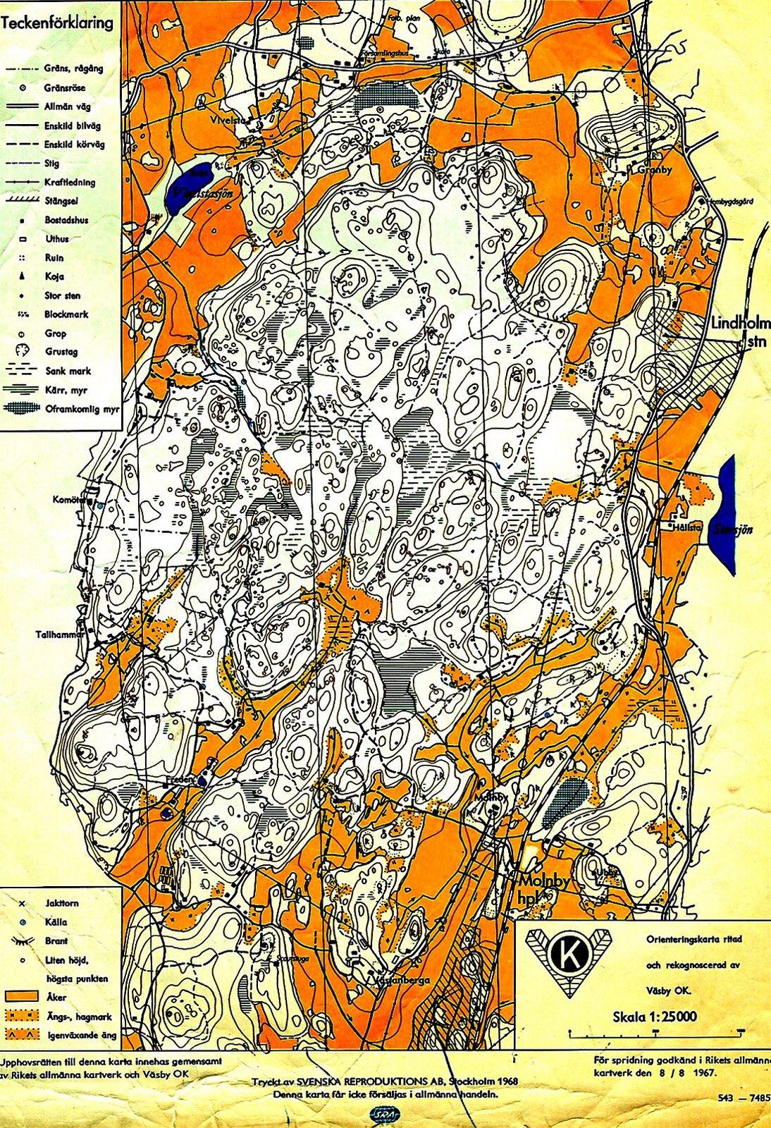 late 1960s Swedish O' map
