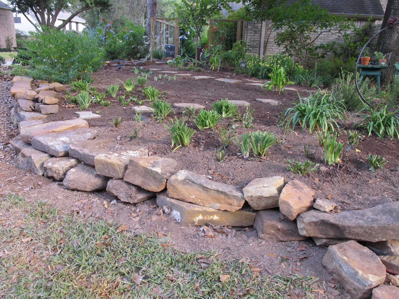 Flower beds with rock borders home decorating ideas for Mulch border ideas