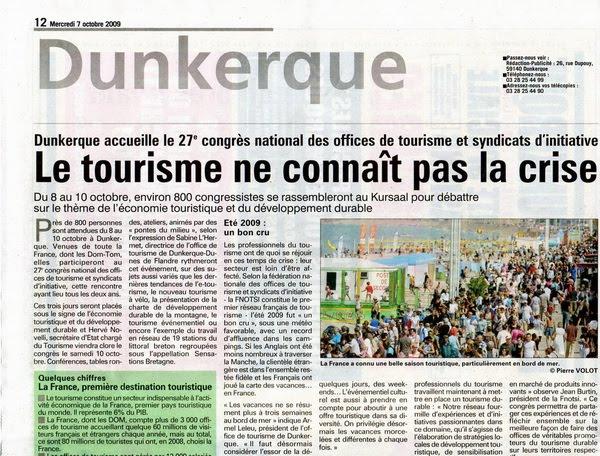 Office de tourisme congr s des otsi dunkerque 8 10 octobre 2009 - Office du tourisme dunkerque ...