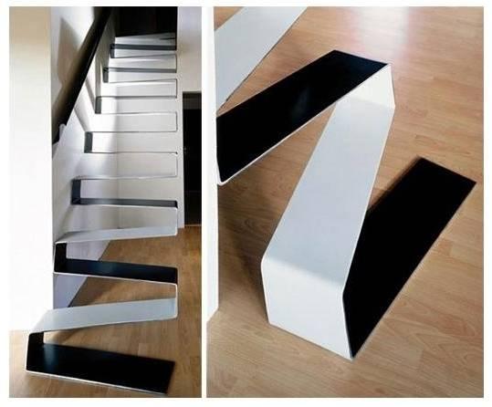 Escalera interior de diseño en zig-zag