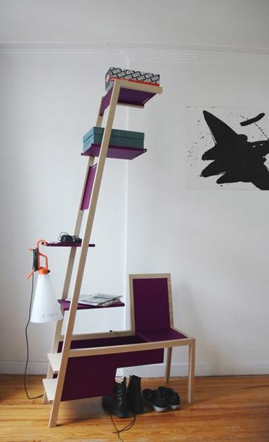 Arquitectura de casas silla cajonera estanter a for Silla escalera plegable planos